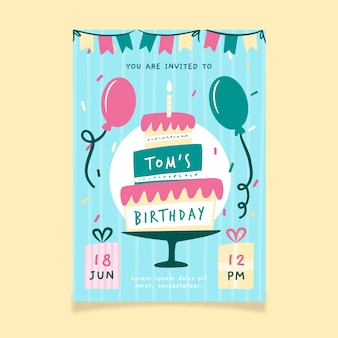 Gelukkige verjaardag sjabloon met cake