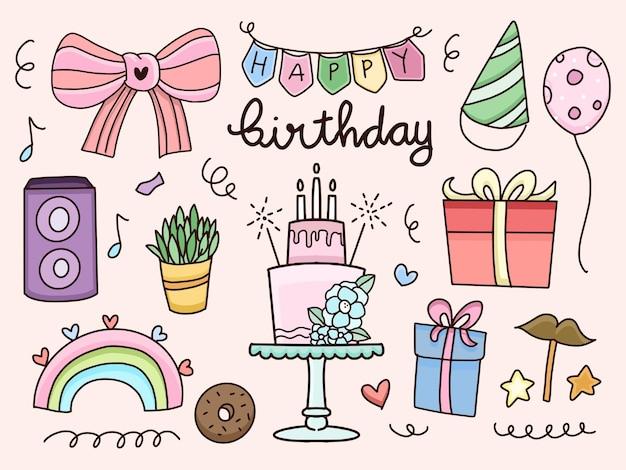Gelukkige verjaardag sticker set cartoon doodle tekening