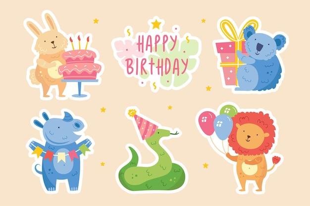 Gelukkige verjaardag stickers schattige dieren die samen vieren konijn koala neushoorn slang leeuw