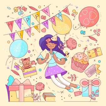 Gelukkige verjaardag typografieontwerp voor wenskaarten en poster met ballon, cupcakes en geschenkdoos, ontwerpsjabloon voor verjaardagsfeest.