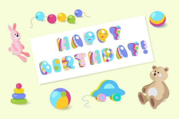 Gelukkige verjaardag typografische vector kleurrijke baby speelgoed ontwerp voor wenskaarten, uitnodigingen
