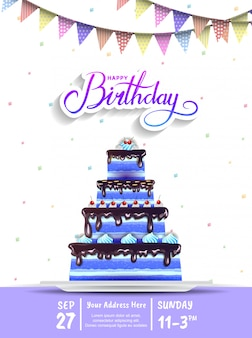 Gelukkige verjaardag uitnodiging ontwerp met grote blauwe taart voor feest evenement