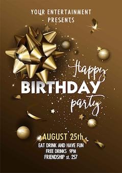 Gelukkige verjaardag uitnodiging poster sjabloon.