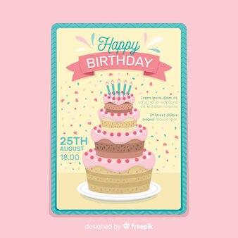 Gelukkige verjaardag uitnodiging sjabloon in vlakke stijl