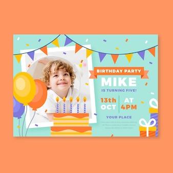 Gelukkige verjaardag uitnodiging sjabloon voor kinderen
