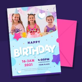 Gelukkige verjaardag uitnodiging sjabloon