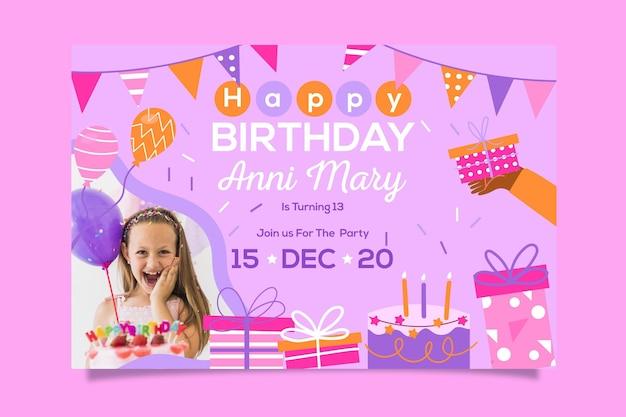 Gelukkige verjaardag uitnodiging sjabloonontwerp