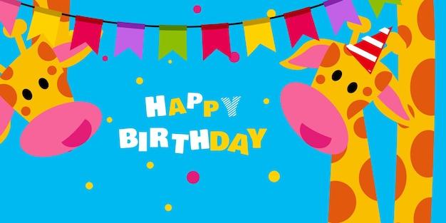 Gelukkige verjaardag, vakantie, baby shower viering groet en uitnodigingskaart met schattige dieren Gratis Vector