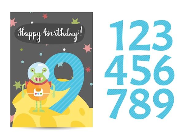 Gelukkige verjaardag vector cartoon wenskaart