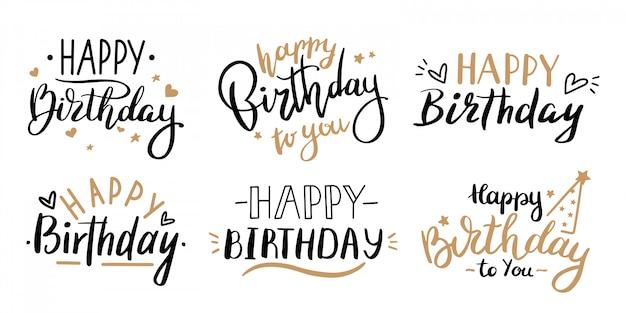 Gelukkige verjaardag viering concept. groet verjaardagsfeestje belettering met viering hand getrokken elementen, decoratieve uitnodigingskaartenset. verjaardag zwart en goud handgeschreven inscriptie