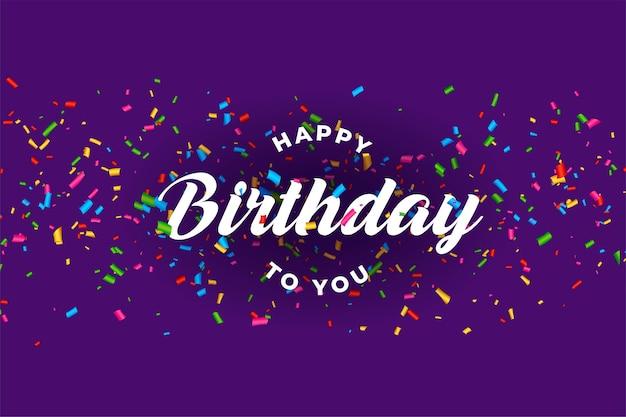 Gelukkige verjaardag viering kaart met vallende confetti