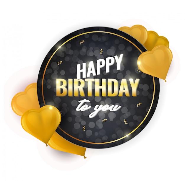 Gelukkige verjaardag viering ontwerp met realistische hartvormige ballonnen en vallende folie confetti