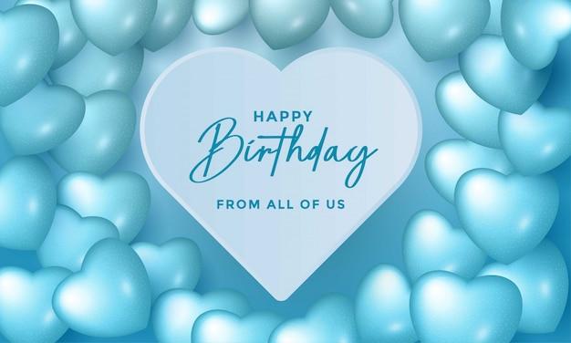 Gelukkige verjaardag viering typografie design met realistische ballonnen
