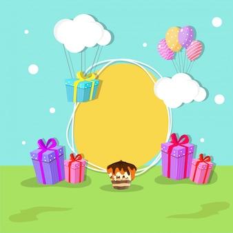 Gelukkige verjaardag vieringen concept met kleurrijke ballonnen, cadeau doos, cake en ruimte voor uw bericht.