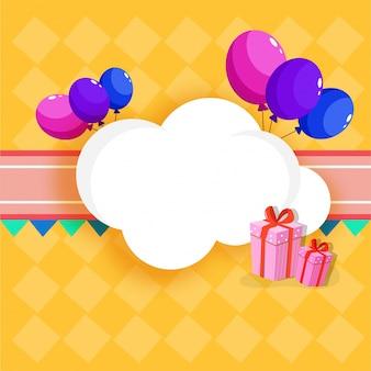 Gelukkige verjaardag vieringen concept met kleurrijke ballonnen, cadeau doos en ruimte voor uw bericht.