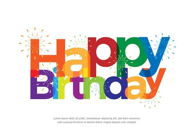 Gelukkige verjaardag volledige kleur met vuurwerk
