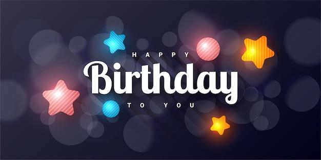 Gelukkige verjaardag voor jou kleurrijke banner illustratie sjabloonontwerp