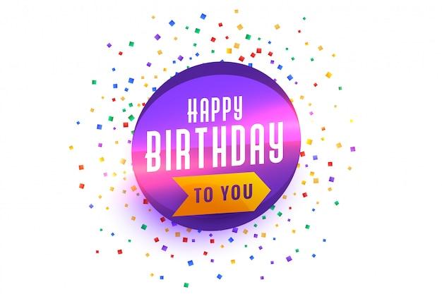 Gelukkige verjaardag wensen achtergrond met confetti burst