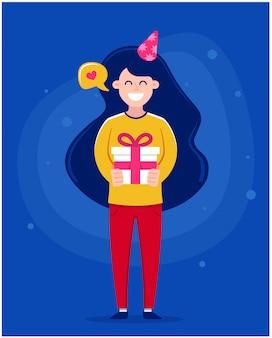 Gelukkige verjaardag-wenskaart. meisje die een cake met kaarsen, karakterillustratie houden.