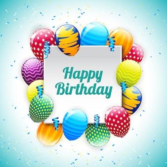Gelukkige verjaardag-wenskaart met ballonnen collectie en typografie brief