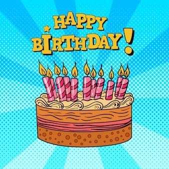 Gelukkige verjaardag-wenskaart met cake en kaarsen.
