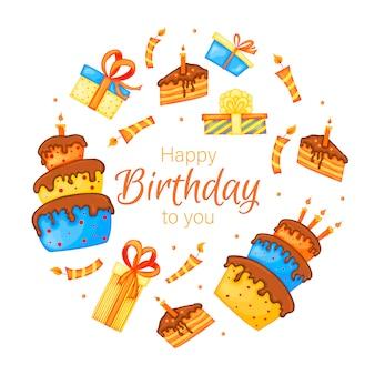 Gelukkige verjaardag-wenskaart met cakes, geschenken en kaarsen