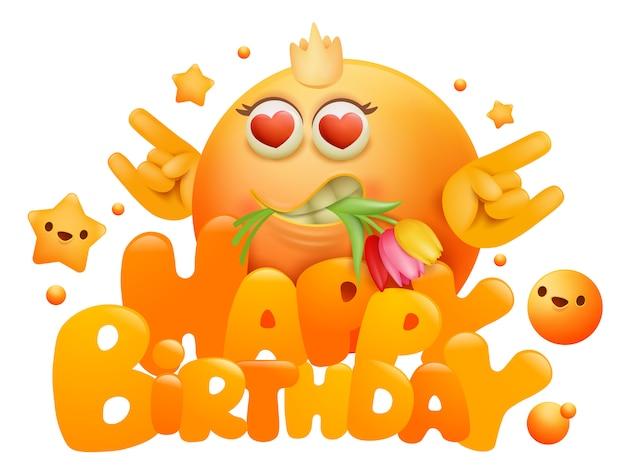 Gelukkige verjaardag-wenskaart met gele emoji stripfiguur en bloemen