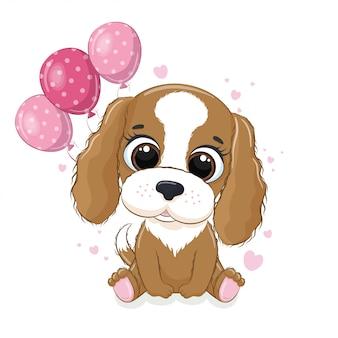 Gelukkige verjaardag-wenskaart met hond en ballonnen.