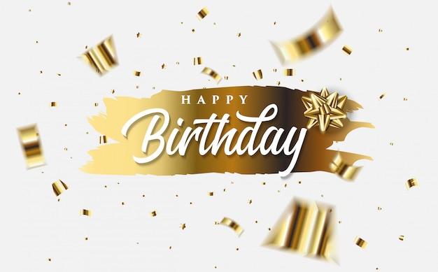 Gelukkige verjaardag-wenskaart met illustraties van gouden folio stukjes papier en de woorden gelukkige verjaardag wit op goud.