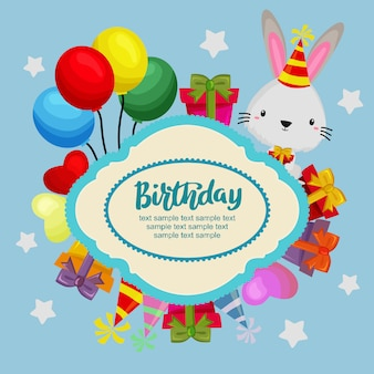 Gelukkige verjaardag-wenskaart met konijn, geschenkdozen en ballonnen