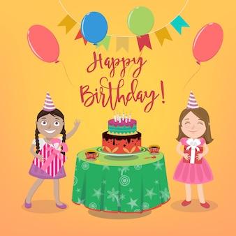 Gelukkige verjaardag-wenskaart met meisjes en verjaardagstaart.