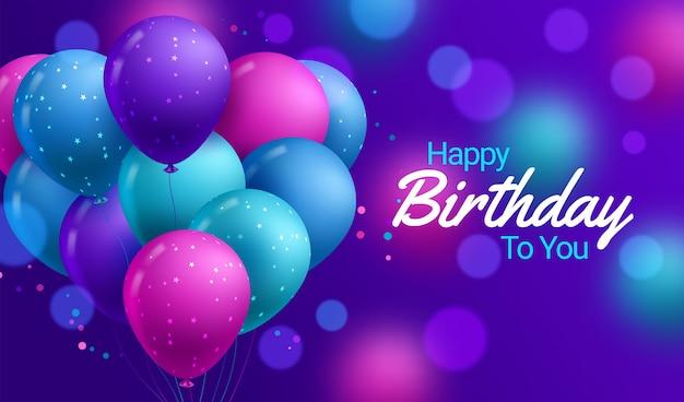 Gelukkige verjaardag-wenskaart met realistische ballonnen