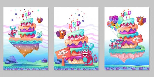 Gelukkige verjaardag-wenskaart met schattige monster set