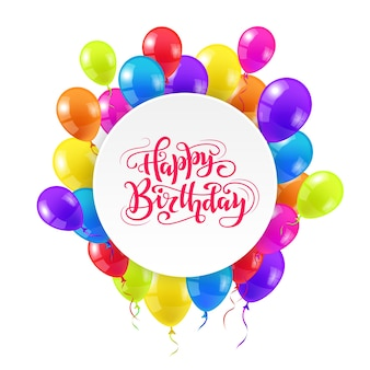 Gelukkige verjaardag wenskaart ontwerp met hand getrokken letters en kleurrijke ballonnen.