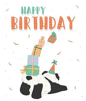 Gelukkige verjaardag-wenskaart versierd met beer en geschenkdoos