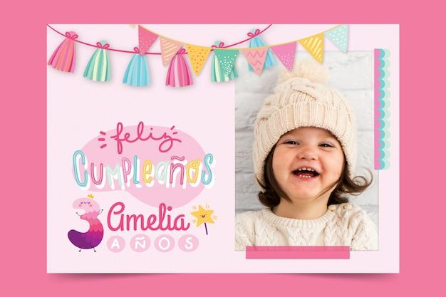 Gelukkige verjaardag-wenskaart voor kinderen