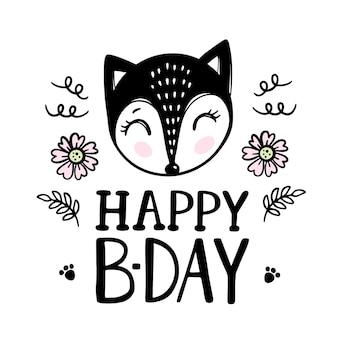 Gelukkige verjaardag wenskaart vos en bloemen. cartoon hand getrokken schets met handgeschreven tekst illustraties