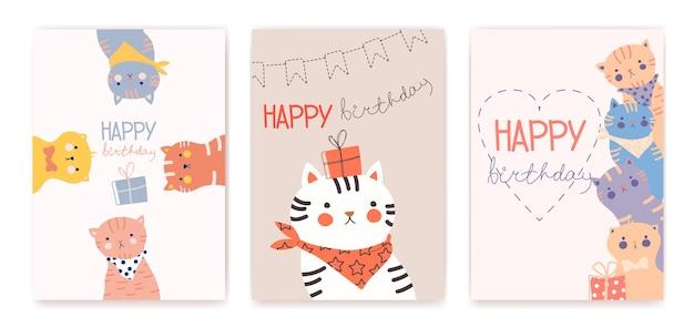 Gelukkige verjaardag wenskaarten met grappige katten vectorillustratie