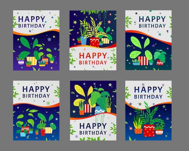 Gelukkige verjaardag wenskaarten ontwerpset. kamerplanten, huisplanten in potten met groene bladeren vectorillustratie met tekstmonster