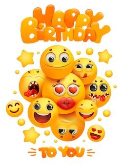 Gelukkige verjaardag-wenskaartsjabloon met groep emoji cartoon gele glimlach tekens.