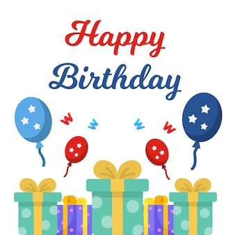 Gelukkige verjaardag witte achtergrond met ballonnen en cadeau