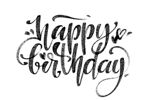 Gelukkige verjaardag woorden. handgetekende creatieve kalligrafie en penseelpenbelettering, voor kerstkaarten en uitnodigingen.