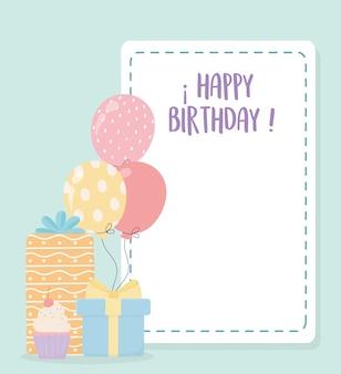 Gelukkige verjaardag zoete cupcake geschenken en ballonnen viering decoratie kaart