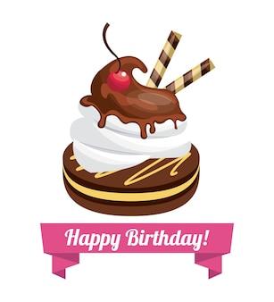 Gelukkige verjaardag zoete dessertviering