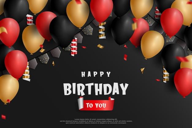 Gelukkige verjaardag zwarte achtergrond met mooie ballonnen en confetti