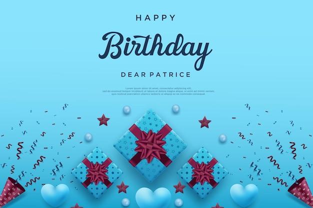 Gelukkige verjaardagsachtergrond met drie lintgeschenkdozen