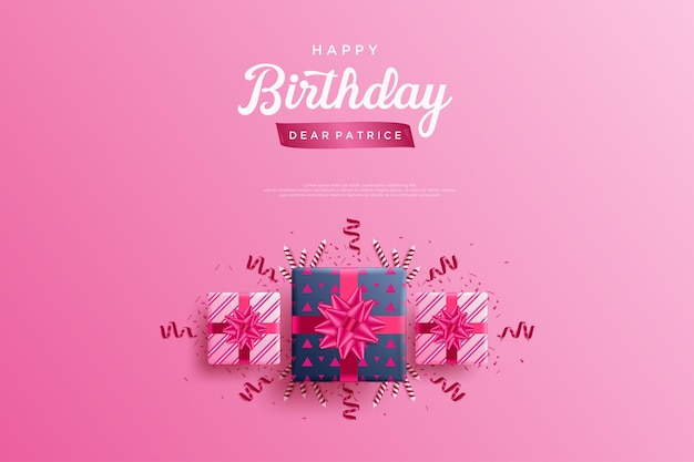 Gelukkige verjaardagsachtergrond met drie mooie geschenkdozen