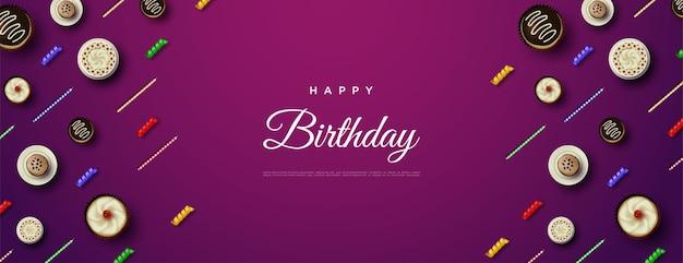 Gelukkige verjaardagsachtergrond met kleine cake en kaarsen