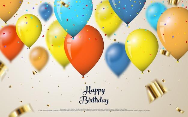 Gelukkige verjaardagsachtergrond met kleurrijke ballonsillustratie