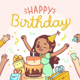 Gelukkige verjaardagsachtergrond met leuk meisje